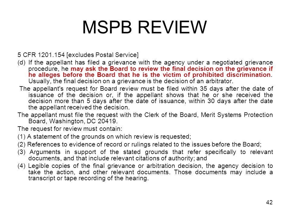 MSPB REVIEW 5 CFR 1201.154 [excludes Postal Service]